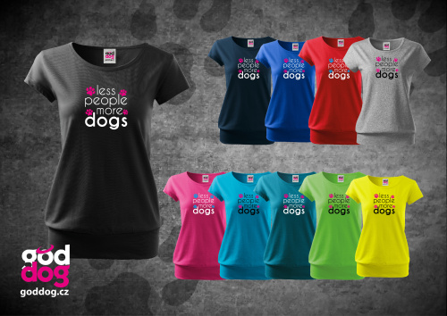 """Dámské triko s potiskem psa """"More Dogs"""", spodní lem"""
