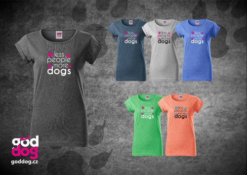 """Dámské triko s potiskem psa """"More Dogs"""", melír"""