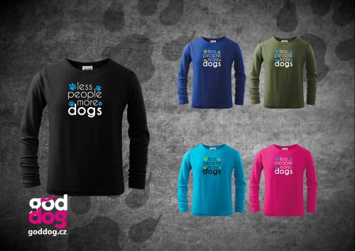 """Dětské triko s potiskem psa """"More Dogs"""", dl.rukáv"""