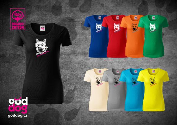 """Dámské triko s potiskem silky teriéra """"Silky Terrier"""", org.bavlna"""