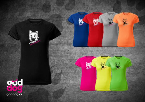 """Dámské funkční triko s potiskem silky teriéra """"Silky Terrier"""""""