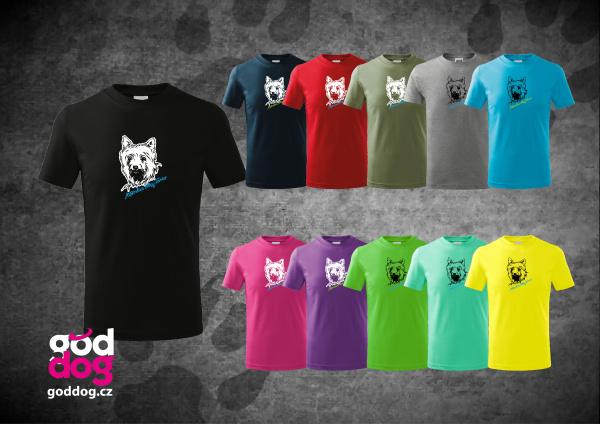 """Dětské triko s potiskem silky teriéra """"Silky Terrier"""", kr.rukáv"""