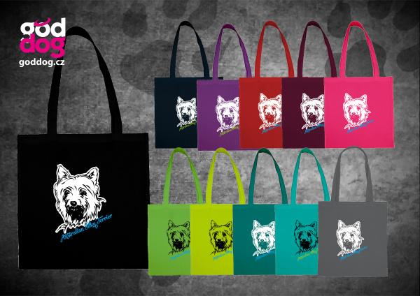"""Nákupní plátěná taška s potiskem silky teriéra """"Silky Terrier"""""""