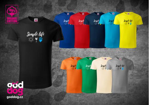 "Pánské triko s potiskem psa ""Simple Life"", org.bavlna"