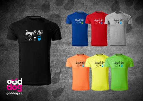 """Pánské funkční triko s potiskem psa """"Simple Life"""""""