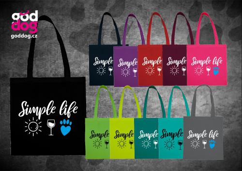 """Nákupní plátěná taška s potiskem psa """"Simple Life"""""""