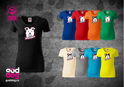 """Dámské triko s potiskem psa """"SuperVořech"""", org.bavlna"""