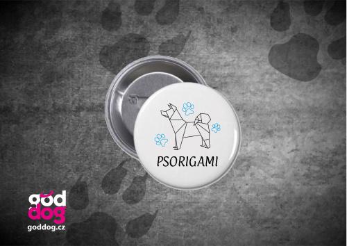 """Placka s potiskem psa """"Psorigami"""""""