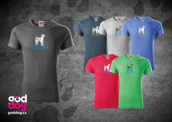 "Pánské triko s potiskem amerického bezsrstého teriéra ""American Hairless Terrier"", melír"