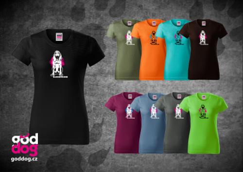 """Dámské triko s potiskem bloodhounda """"Bloodhound"""", klasik"""