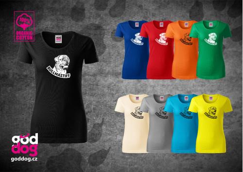 "Dámské triko s potiskem bullmastifa ""Bullmastiff"", org.bavlna"