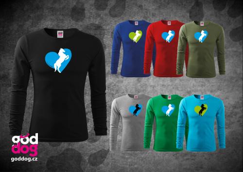 """Pánské triko s potiskem koně """"Heart Horse"""", dl.rukáv"""