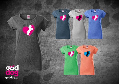 "Dámské triko s potiskem koně ""Heart Horse"", melír"