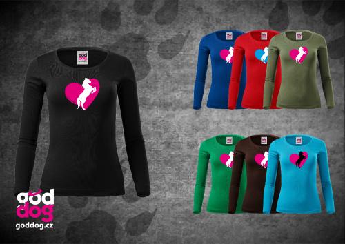 """Dámské triko s potiskem koně """"Heart Horse"""", dl.rukáv"""