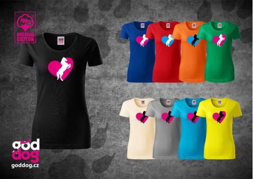 "Dámské triko s potiskem koně ""Heart Horse"", org.bavlna"