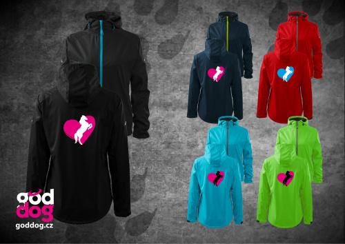 """Dámská soft.bunda s potiskem koně """"Heart Horse"""", kontrast.zip"""