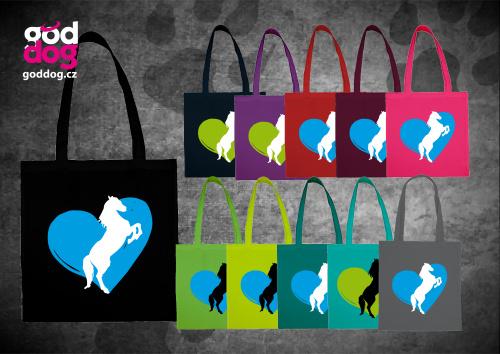 """Nákupní plátěná taška s potiskem koně """"Heart Horse"""""""