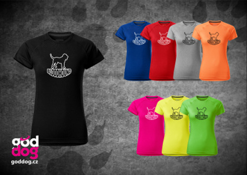 """Dámské funkční triko s potiskem bloodhounda """"Silueta"""""""