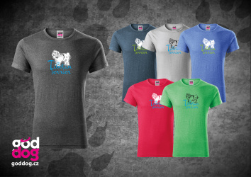 "Pánské triko s potiskem tibetského teriéra ""Tibetan Terrier"", melír"