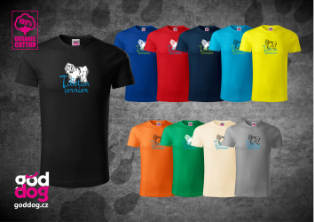 "Pánské triko s potiskem tibetského teriéra ""Tibetan Terrier"", org.bavlna"
