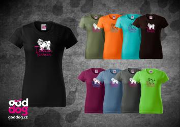"Dámské triko s potiskem tibetského teriéra ""Tibetan Terrier"", klasik"