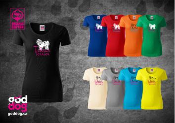 "Dámské triko s potiskem tibetského teriéra ""Tibetan Terrier"", org.bavlna"