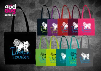 """Nákupní plátěná taška s potiskem tibetského teriéra """"Tibetan Terrier"""""""