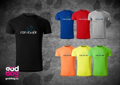 """Pánské funkční triko s potiskem foxteriéra """"Foxteriér"""""""