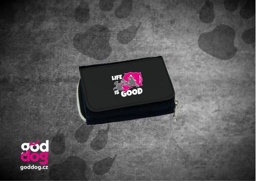 """Dámská peněženka s potiskem psa """"Life is good"""", džinová"""