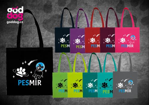 """Nákupní plátěná taška s potiskem psa """"Pesmír"""""""