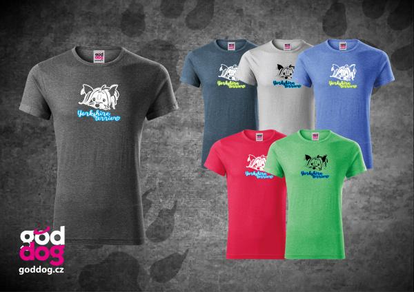 "Pánské triko s potiskem jorkšírského teriéra ""Yorkshire Terrier"", melír"