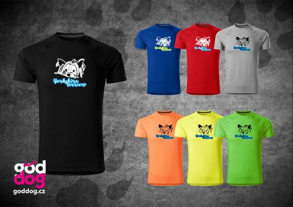 """Pánské funkční triko s potiskem jorkšírského teriéra """"Yorkshire Terrier"""""""