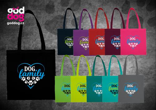 """Nákupní plátěná taška s potiskem psa """"Dog Family"""""""