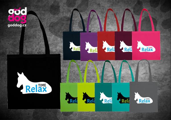 """Nákupní plátěná taška s potiskem koně """"Relax Time"""""""
