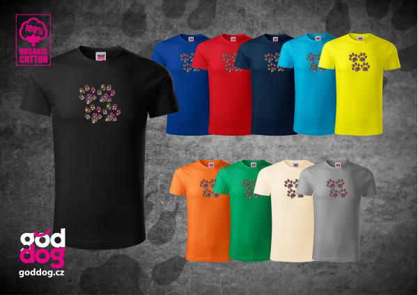 "Pánské triko s potiskem psa ""Paw Flowers"", org.bavlna"