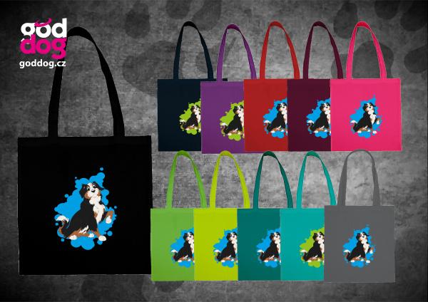 """Nákupní plátěná taška s potiskem bernského salašnického psa """"Cartoon"""""""