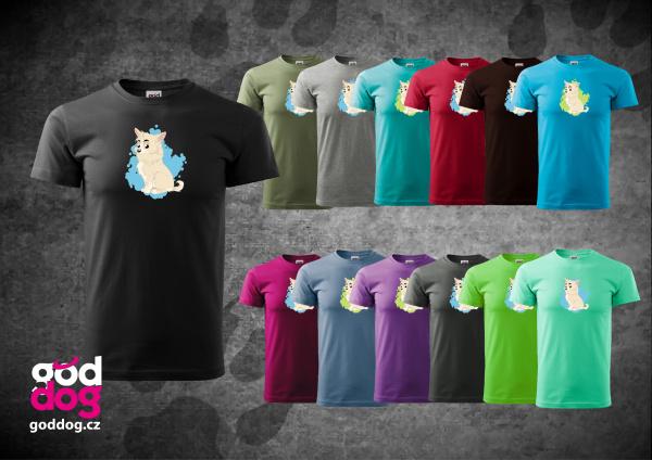 "Pánské triko s potiskem dlouhosrsté čivavy ""Cartoon"", kr.rukáv"