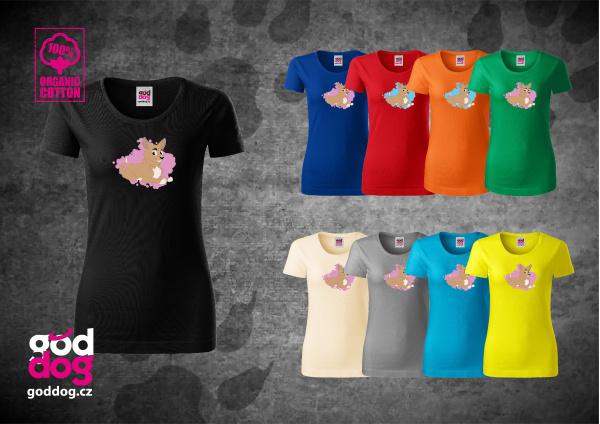 """Dámské triko s potiskem krátkosrsté čivavy """"Cartoon"""", org.bavlna"""