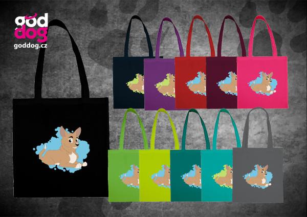"""Nákupní plátěná taška s potiskem krátkosrsté čivavy """"Cartoon"""""""