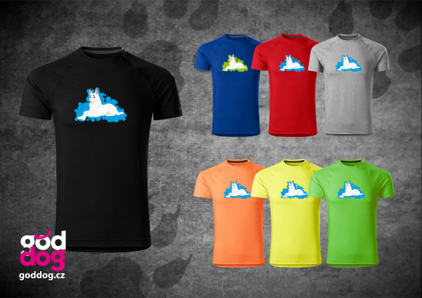 """Pánské funkční triko s potiskem bílého švýcarského ovčáka """"Cartoon"""""""