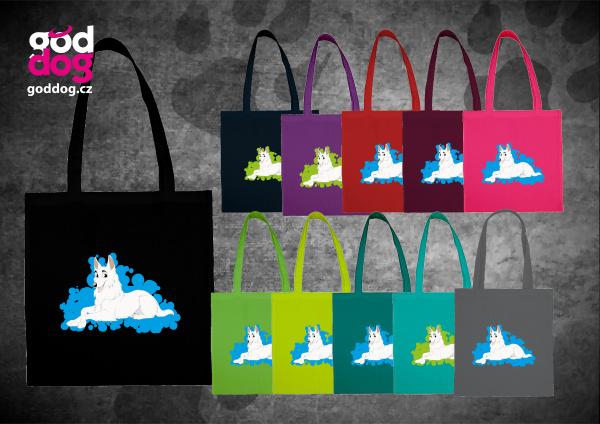"""Nákupní plátěná taška s potiskem bílého švýcarského ovčáka """"Cartoon"""""""
