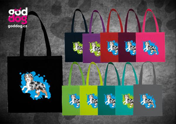 """Nákupní plátěná taška s potiskem australského ovčáka bluemerle """"Cartoon"""""""
