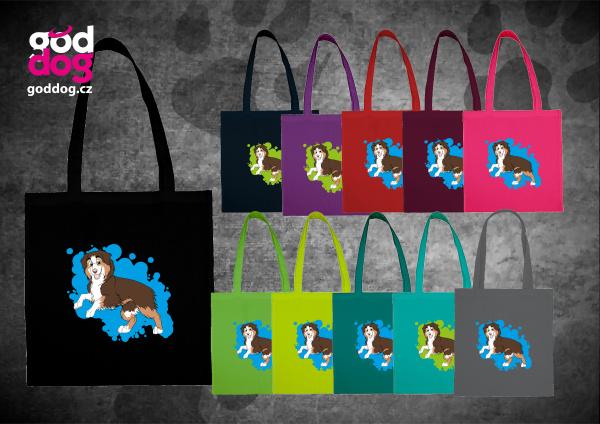 """Nákupní plátěná taška s potiskem australského ovčáka redtri """"Cartoon"""""""