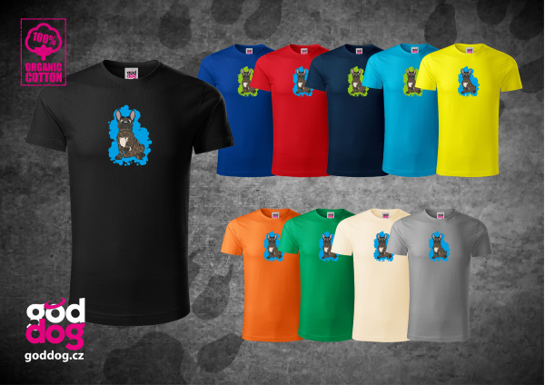 "Pánské triko s potiskem francouzského buldočka brindle ""Cartoon"", org.bavlna"