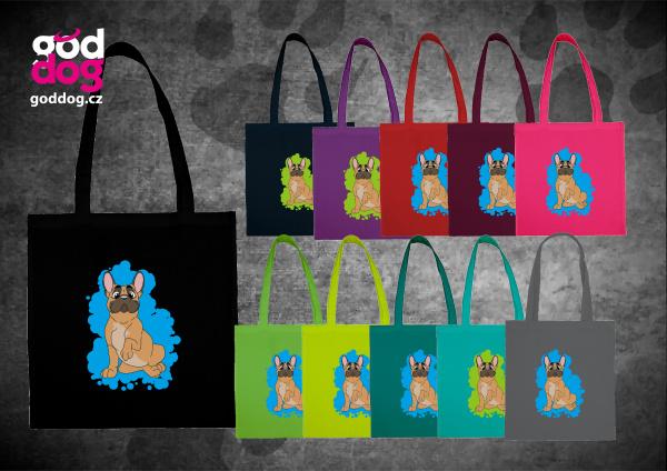 """Nákupní plátěná taška s potiskem francouzského buldočka fawn """"Cartoon"""""""