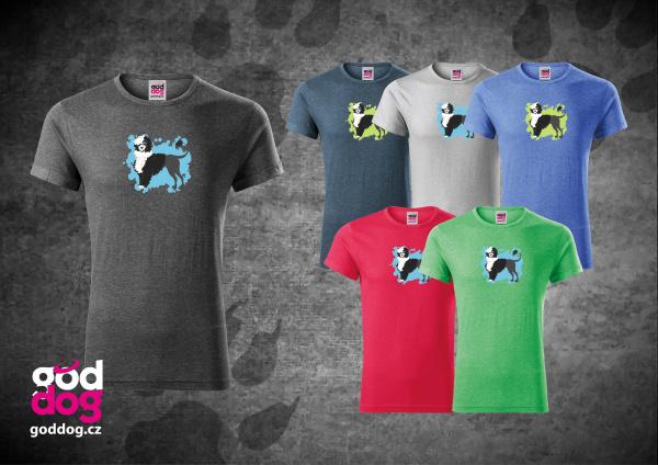 """Pánské triko s potiskem portugalského vodního psa BW """"Cartoon"""", melír"""