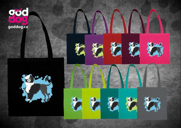 """Nákupní plátěná taška s potiskem portugalského vodního psa BW """"Cartoon"""""""