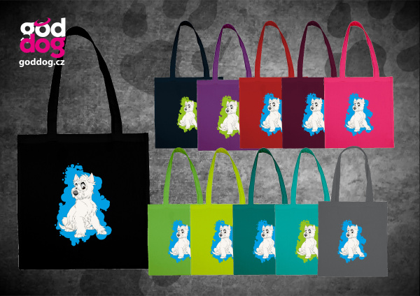 """Nákupní plátěná taška s potiskem west highland teriéra """"Cartoon"""""""