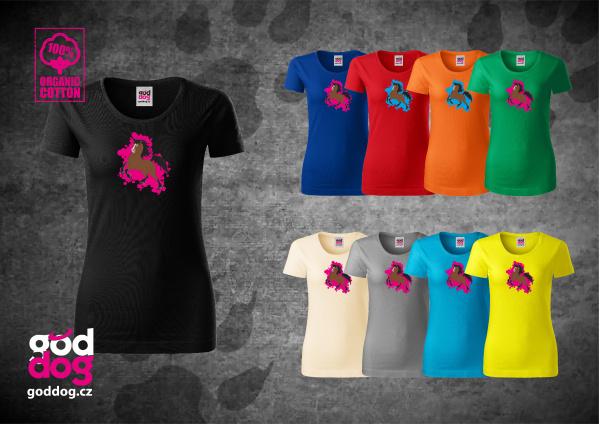 "Dámské triko s potiskem koně ""Cartoon Hucul"", org.bavlna"