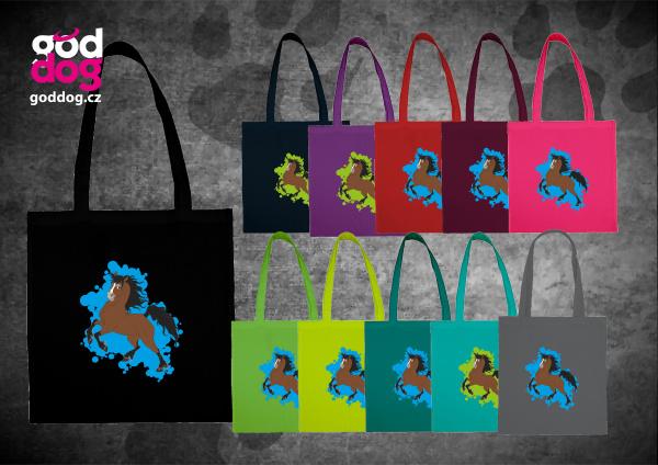 """Nákupní plátěná taška s potiskem koně """"Cartoon Hucul"""""""